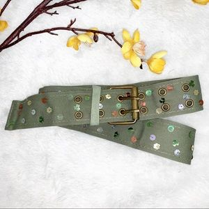 ARMY GREEN || 2 Prong Buckle Sequin Belt